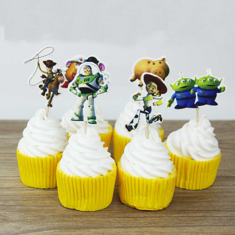 24pcs/pack Toy Story Cake Toppers Kids Birthday Party Decorations Cupcake Toppers Baby Shower Event Party Favors Supplies