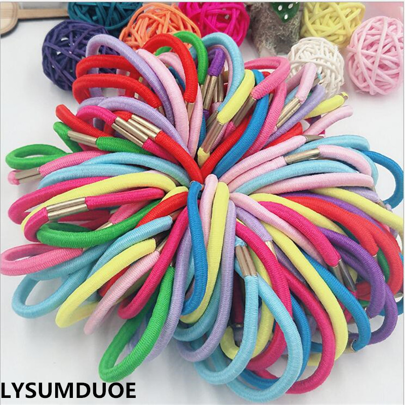 Fashion 50Pcs Girl Elastic Hair Bands DIY Ring Rope Solid Black Hairbands Ponytail Holder Children Jewelry Gift Hair Accessories free shipping 2013 new fashion lace big rabbit ear hairbands womens festival party props hair bands wholesale
