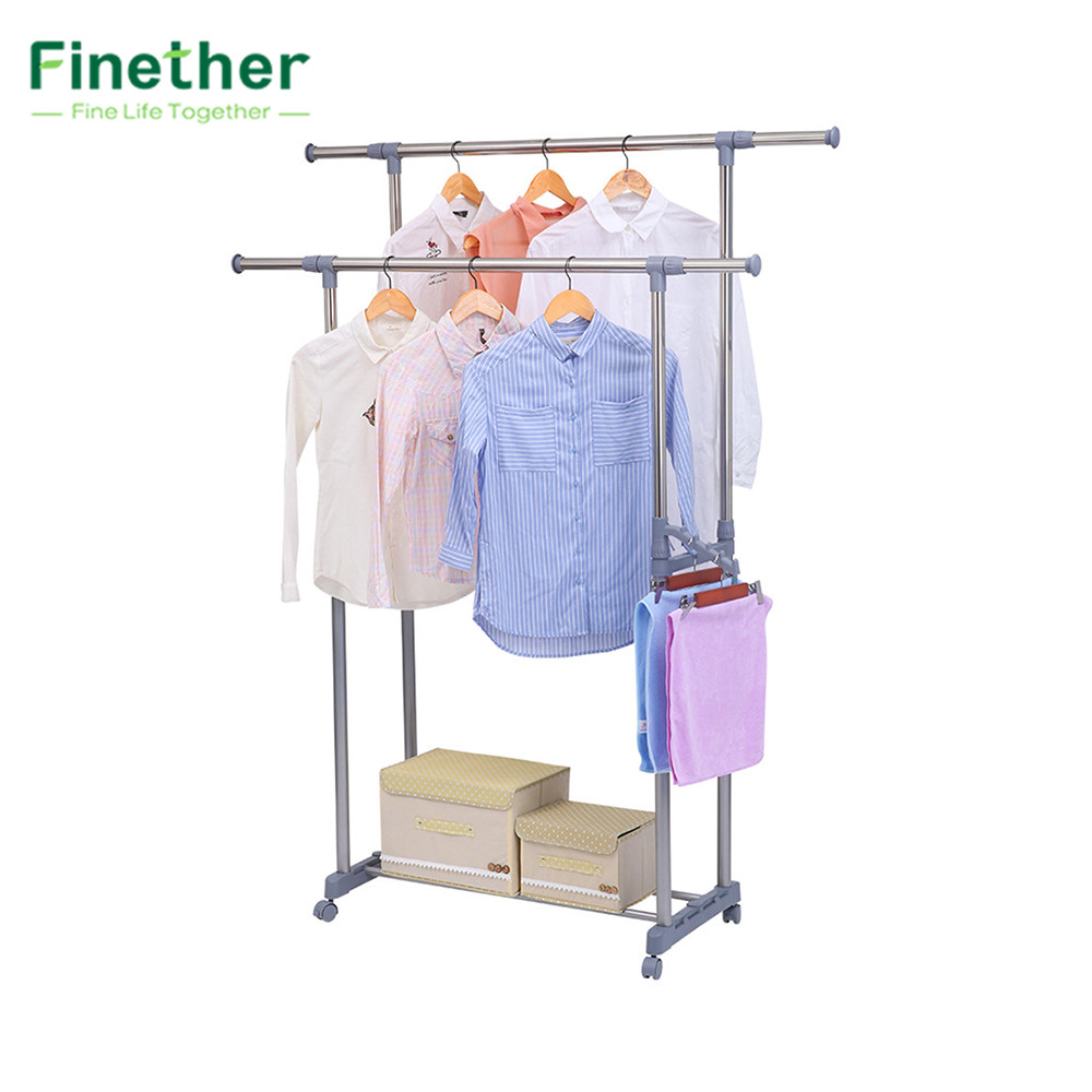 finether adjustable rolling garment rack clothes storage organization drying hanging portable. Black Bedroom Furniture Sets. Home Design Ideas