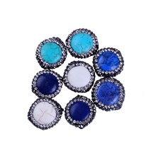 Прелести натуральный голубой crackle сердолик круглый камень проложить белый черный горный хрусталь кулон для изготовления ювелирных изделий diy материал
