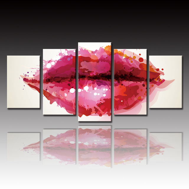 No Framed 5 Pieces Oil Spray Paintings Abstract Lips Modular ...