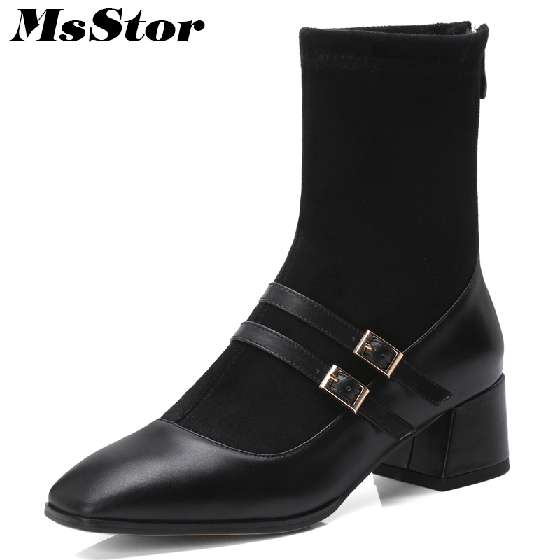 Msstor Women Boots Fashion Metal Zipper Buckle Ankle Boots Women Shoes Pointed Toe Square heel Med Heel Boots Shoes For Girl double buckle flat heel zipper boots