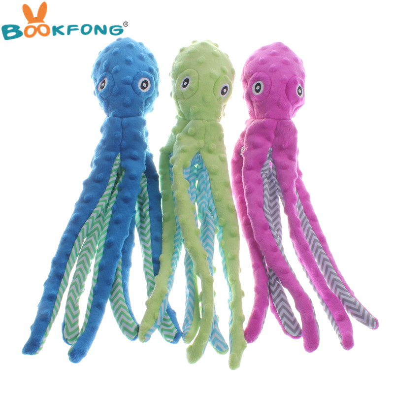 цена на 40cm Cute Dog Plush Toys Octopus Design Pet Puppy Soft Treat Chew Toy Interactive for Small to Medium Breeds Dogs Cats Playing