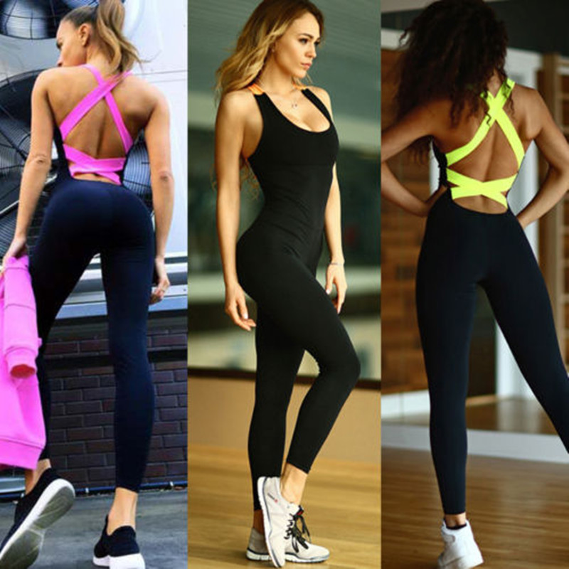 2019 One Piece Sport Clothing Backless Sport Suit Workout Tracksuit For Women Running Tight Dance Sportswear Gym Yoga Women Set title=