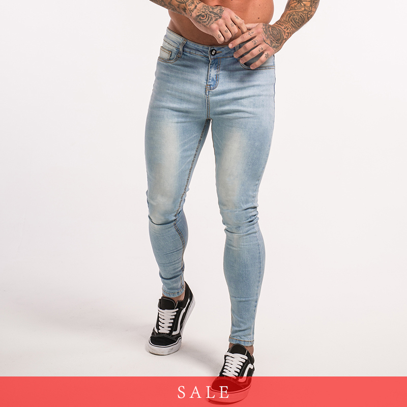 Gingtto Skinny Jeans For Guys Stretch Jeans Light Blue Ripped Denim Jeans For Men Slim Fit Tight Pants Brand Hip Hop zm32 slack skinny tight fit work pants