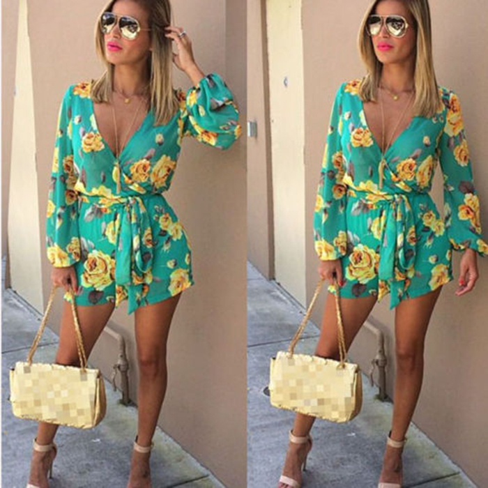 Ladies Sexy fashion summer Casual Floral print Playsuit long sleeve loose v-neck Jumpsuit&Romper Trousers