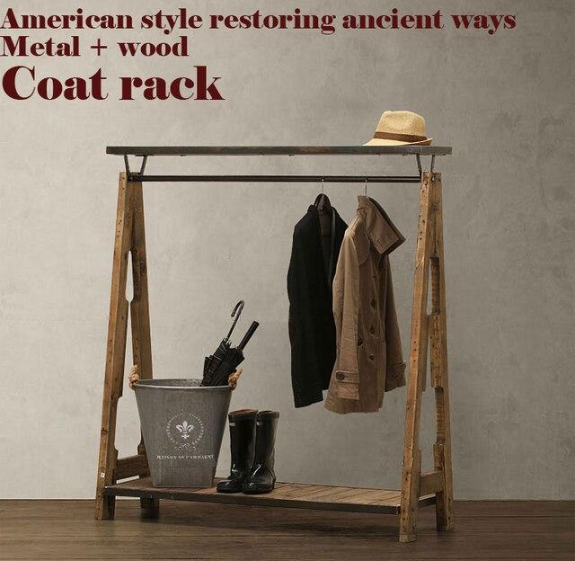 Американский Пастырской ретро вешалка, ностальгический стиль шкаф, стеллаж для одежды, ЧЕРДАК, металл + дерево, чисто ручной работы мебель для спальни