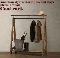 Американский пасторальный Ретро вешалка, Ностальгический стиль шкаф, одежда витрина, лофт, металл + дерево, ручная работа мебель для спальни