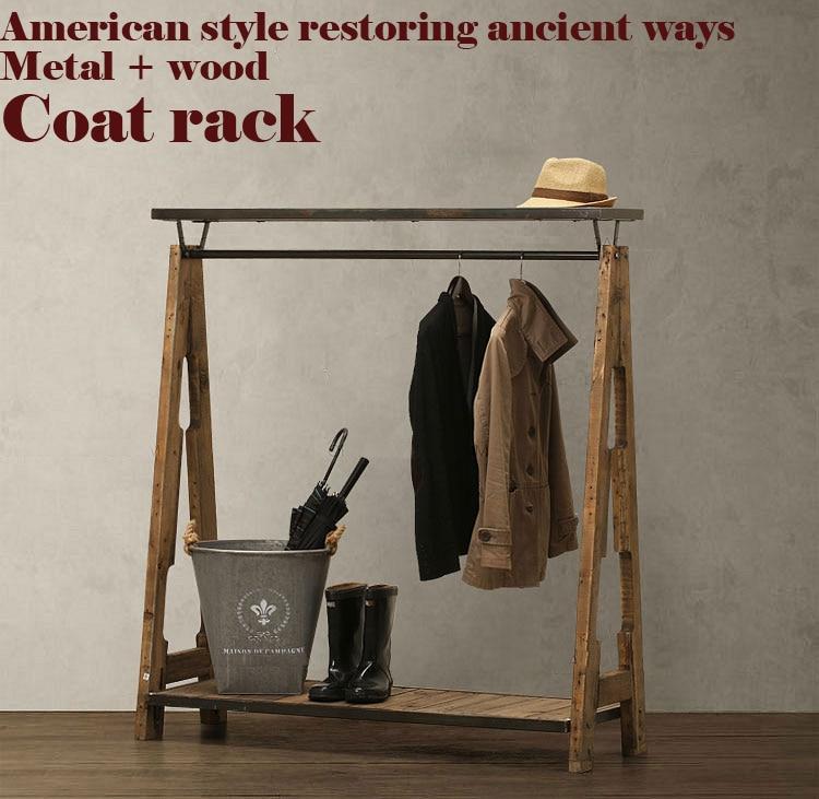 American Pastoral Retro Garderobe, Kleiderschrank im nostalgischen Stil, Kleiderständer, LOFT, Metall + Holz, reine handgefertigte Schlafzimmermöbel