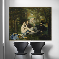 HDARTISAN Impressionism Oil Painting Edouard Manet Luncheon On the Grass Home Decor Wall Pictures For Living Room Canvas Art