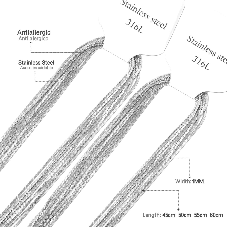 LUXUKISSKIDS 10 قطعة/الوحدة الفولاذ المقاوم للصدأ 1 مللي متر سلسلة قلادة حبل سلاسل الأزياء المختنق القلائد سعر الجملة عالية الجودة