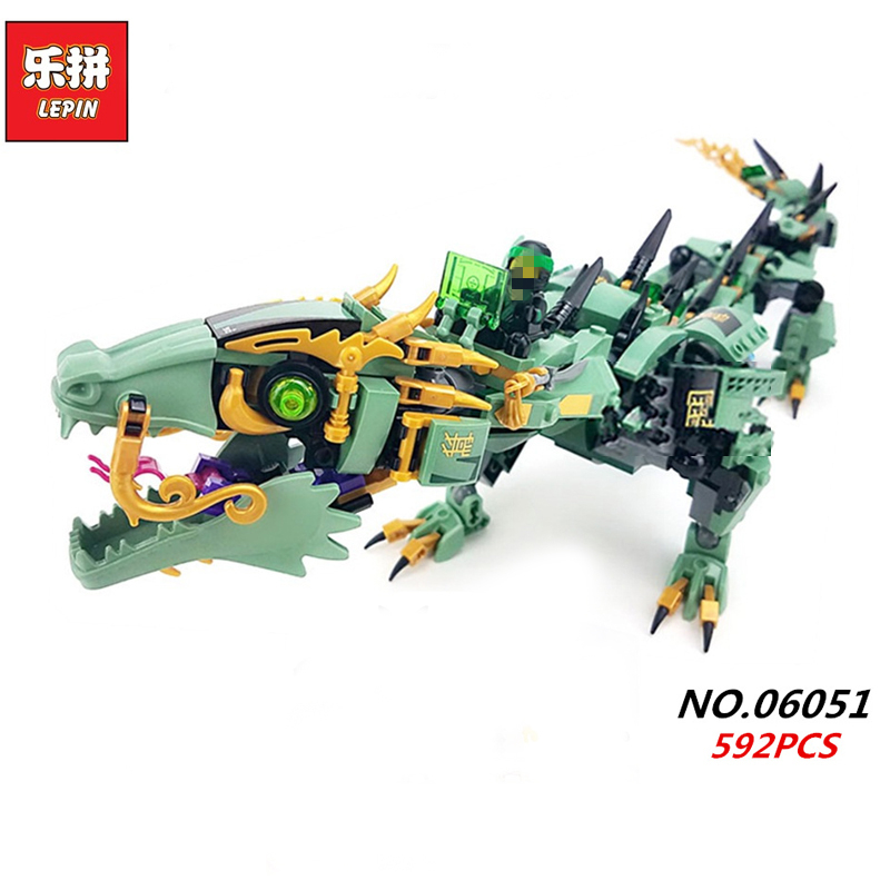 lepin 06051 ninjagoes 592pcs Movie Series Flying mecha dragon Building Blocks Bricks baby Toys children gift Model Gifts 70612 lepin 16030 1340pcs movie series hogwarts city model building blocks bricks toys for children pirate caribbean gift