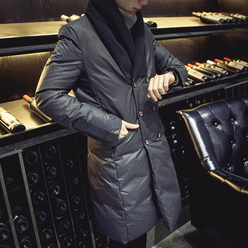 Men winter fashion slim warm large code length high-end double breasted jacket coat handsome Metrosexual