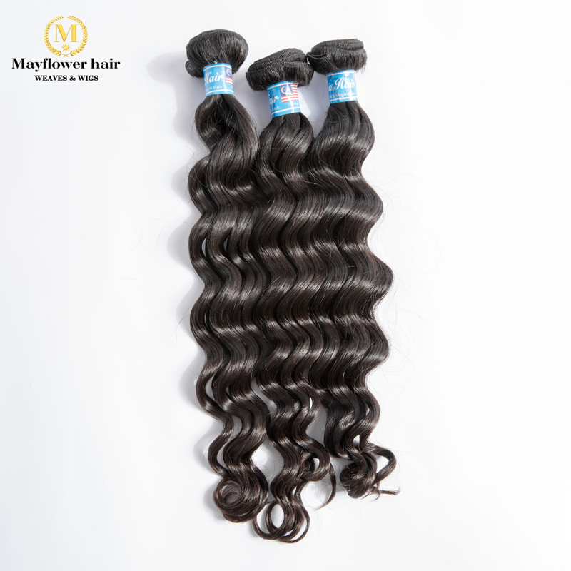 "Mayflower 100% Unprocessed Virgin Malaysian Hair Natural Wave 1/2/3/4 Bundles Full Cuticle Hair Weft 12-26"" Mix Length(China)"