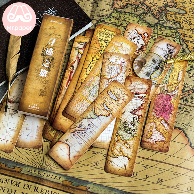Mr Paper 30pcs/box Vintage Retro Style Wolrd Traveling Map Bookmarks For Novelty Book Reading Maker Page Creative Paper Bookmark
