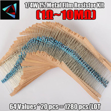 1280pcs Resistor Kit 0.25W 64values X 20pcs Resistencias Resistor Pack Metal Film Resistance 1 Ohm – 10M Ohm 1/4W Metal Film Set