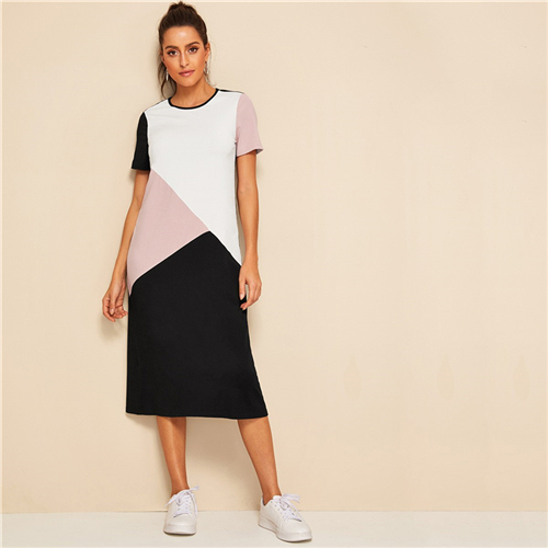 Casual Multicolor CutAndSew Tunic Summer Long Dress Women ONeck Short Sleeve Shift Straight ColorBlock Dresses