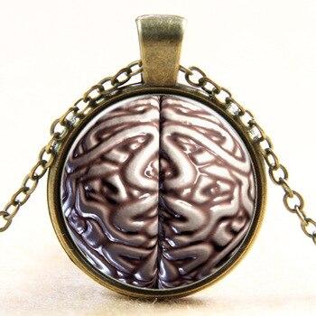 2017 nueva moda bronce colgante collar iZombie cerebro collar con símbolo PSI psicología cabujón colgante de cristal COLLAR COLGANTE