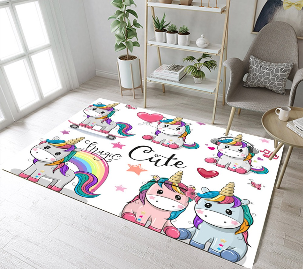 US $19.65 43% OFF|Cartoon Unicorn Rugs And Carpets For Kids Baby Home  Living Room Large White Bedroom Parlor Hallway kitchen Door Floor Bath  Mats-in ...