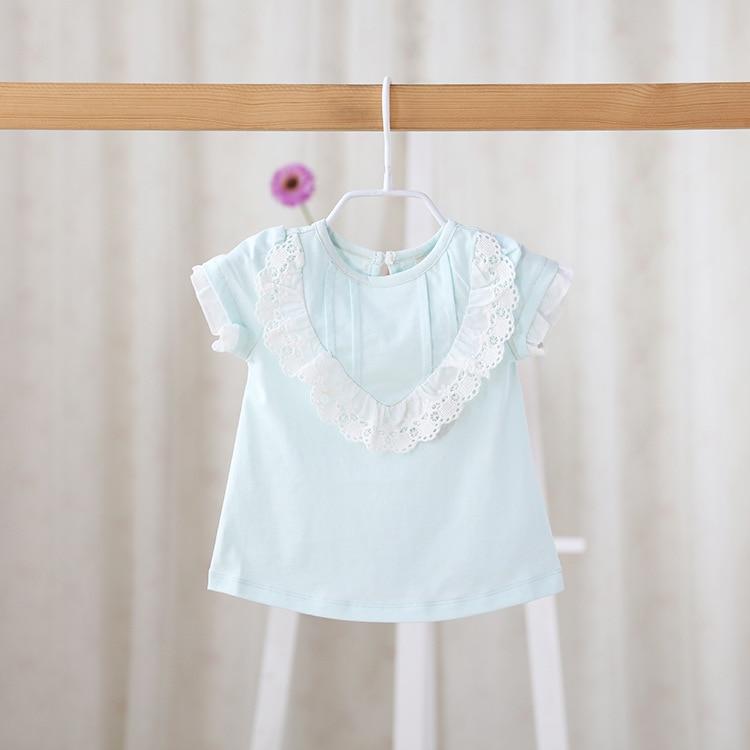 Новинка 2016 Детская летняя для маленьких девочек чистый Sweet Baby Кружевная футболка для новорожденных универсальные; одежда для маленьких дев...