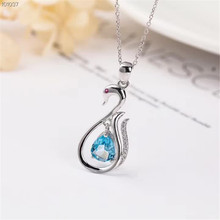 fashionable simple-designed 925 sterling silver natural gemstone jewelry blue topaz necklace pendant for female party gift