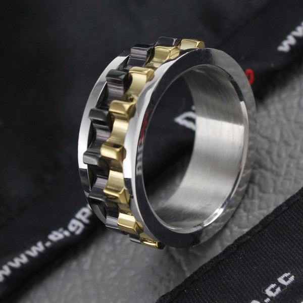 orsa jewels unique design men ring moveable gear 316l stainless steel charming ring for men wholesale otr15 - Gear Wedding Ring