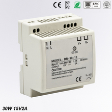 цена на Din rail power supply 30w 15V power suply 15V 30w ac dc converter DR-30-15 good quality OEM