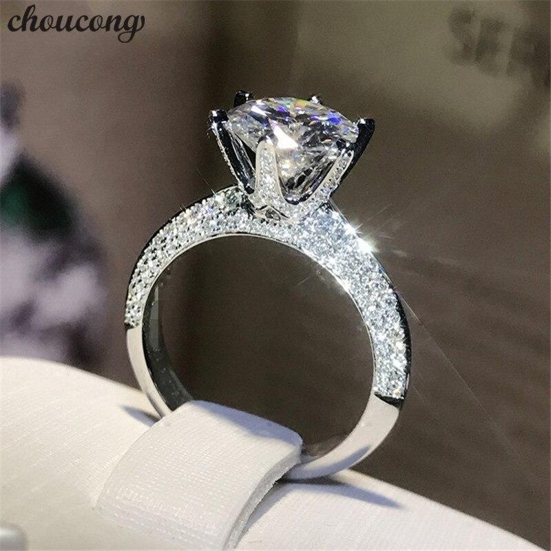 Choucong בעבודת יד 100% טבעת כסף סטרלינג אמיתי 925 עגול 0.8ct AAAAA זירקון Bijoux טבעות נישואים אירוסין לנשים גברים