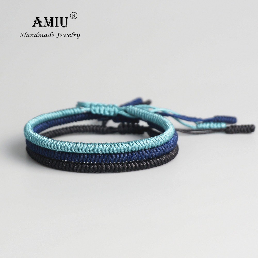 AMIU 3pc Tibetan Buddhist Lucky Woven Tibetan Bracelets & Bangles For Women Men Handmade Knots Dingier Rope Wish Gift Bracelet 1 pcs women lucky red string bracelets men jewelry 100% handmade bangles boho style girls gift