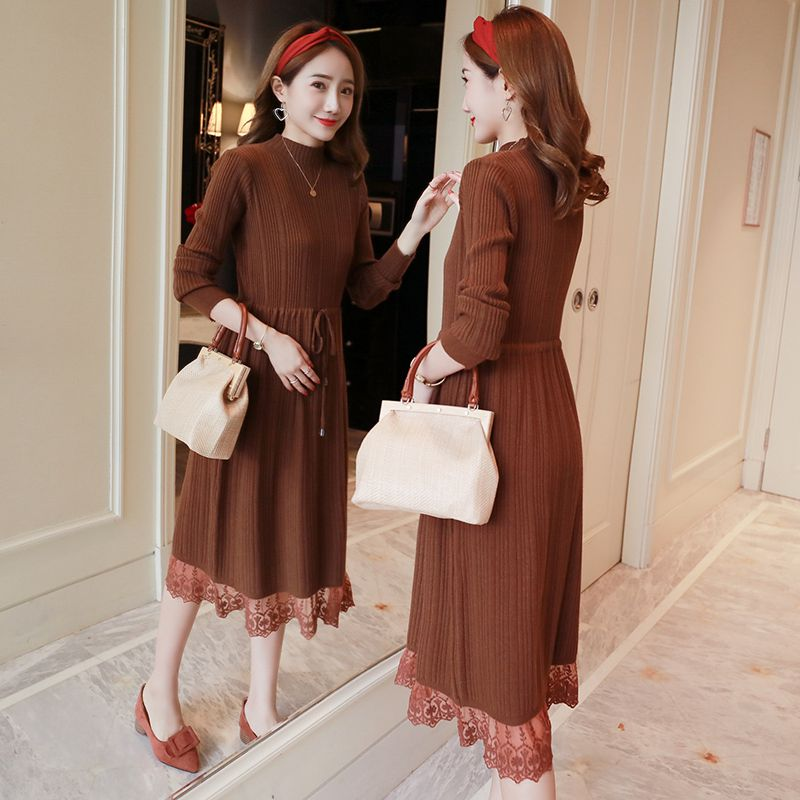 Pregnant women 2018 autumn and winter pregnant women knit dress tide mother slim slim sweater dress long skirt
