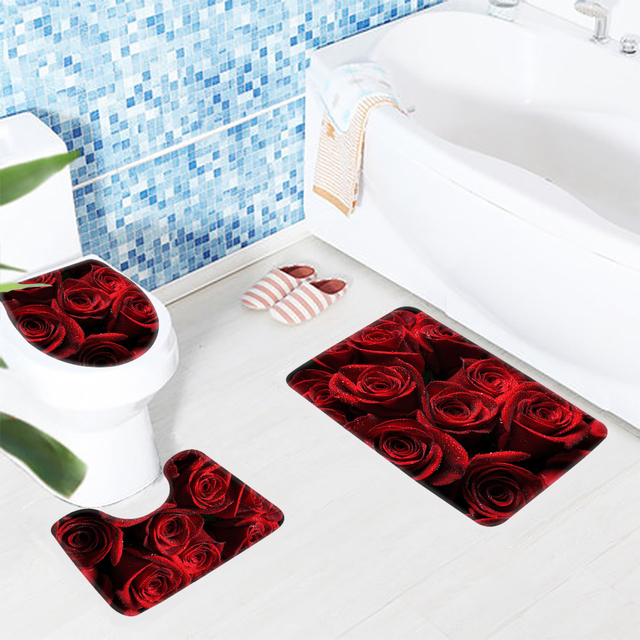 3 pz Anti Slip da Bagno Tappeto Set Rose Red Gocce Petali modello Tappetino Da Bagno Moderno Bagno Tappetino Antiscivolo Tappetino Doccia set