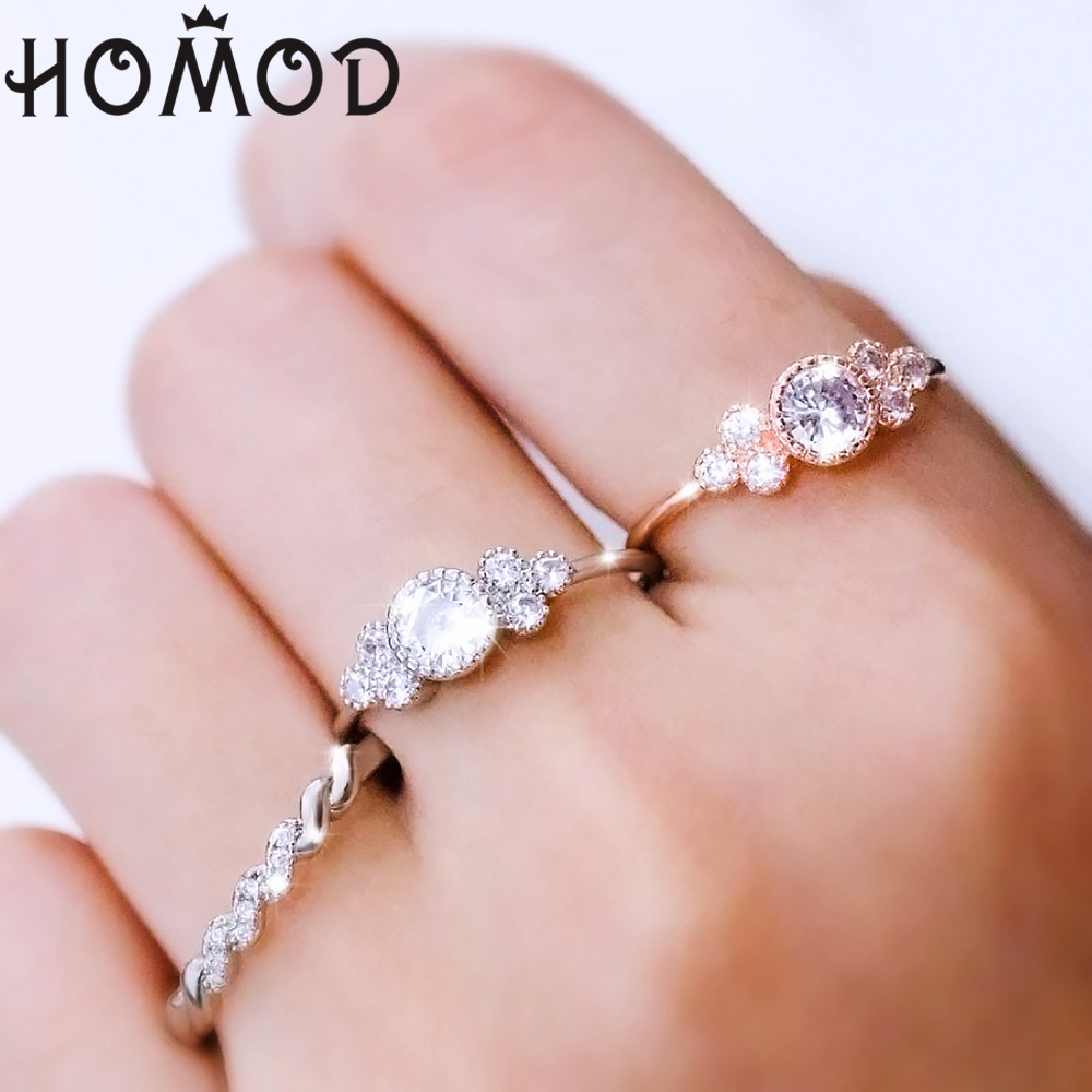 Tiny Zircon Stone Finger Ring Rose Gold Filled Stackable Engagement Rings Fashion Wedding Bands For Women Minimalist Jewelry