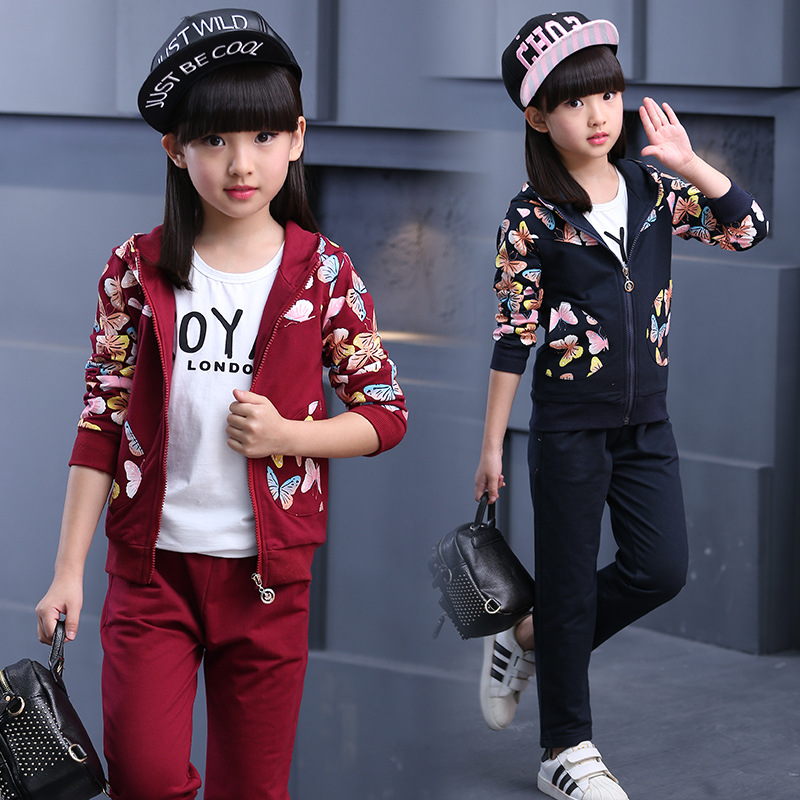 2017 Autumn 100% Cotton Girls Clothes Sets Fashion Long Sleeve Butterfly Clothing Set For Girls Children Kids Two Pieces Sets new autumn sweet girls sets two piece cardigan outwear cape jacket long sleeve dress cotton lace kids girls clothes sets