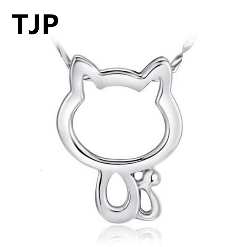 TJP Cute Cat Design Pendants Necklace Jewelry 925 Sterling Silver Choker For Women Wedding Birthday Girl Lady Gift