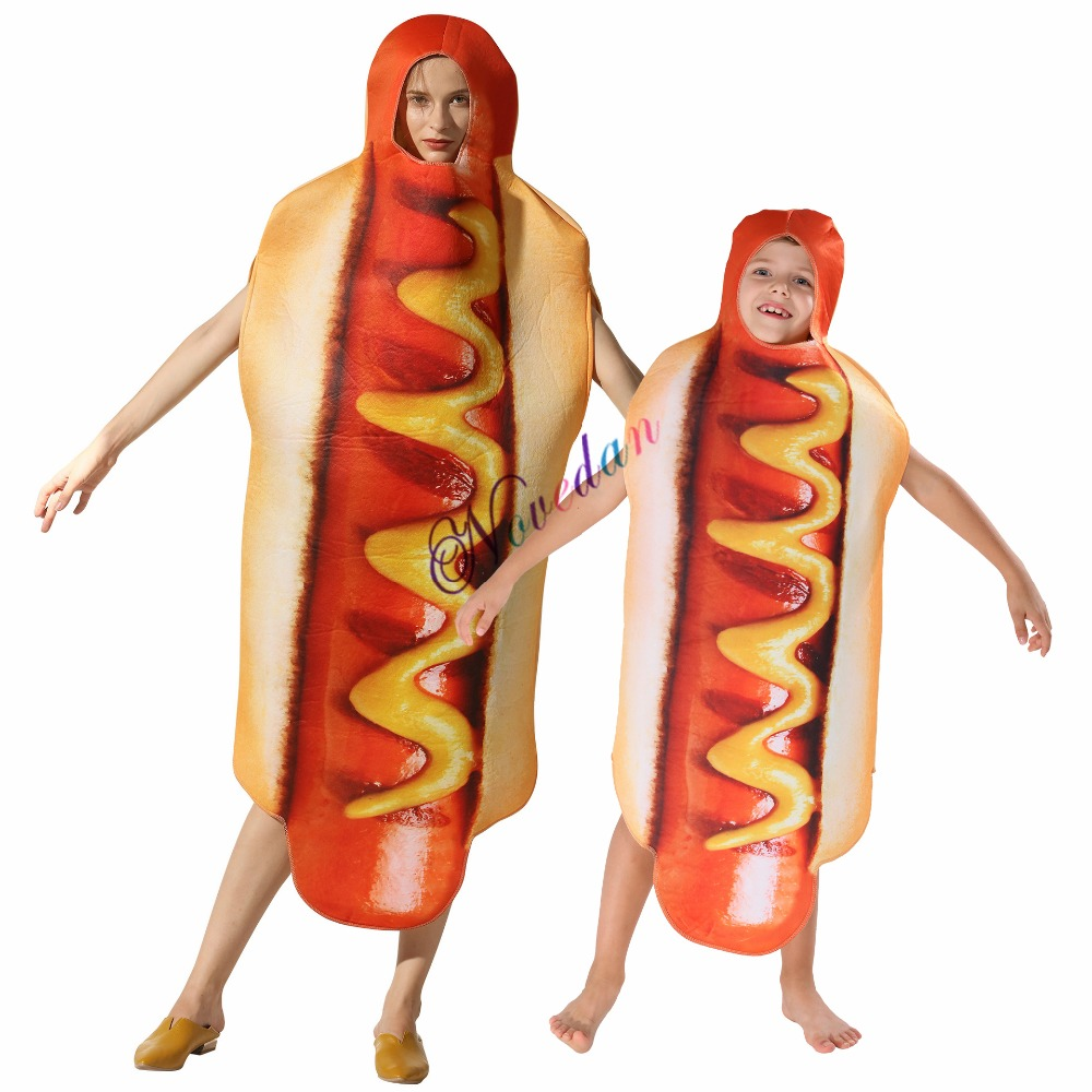 addf64cdac4 Adult Kids Funny 3D Print Food Sausage Hot Dog Costumes Halloween Men Women  One-Piece Anime Suit Carnival Party Cosplay