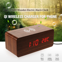 Tmoxen Wireless Charger Wood For iPhone 8Plus X XR XS LED Alarm Clock Sound Control Qi Wireless Charging for Samsung S9 S10 Plus
