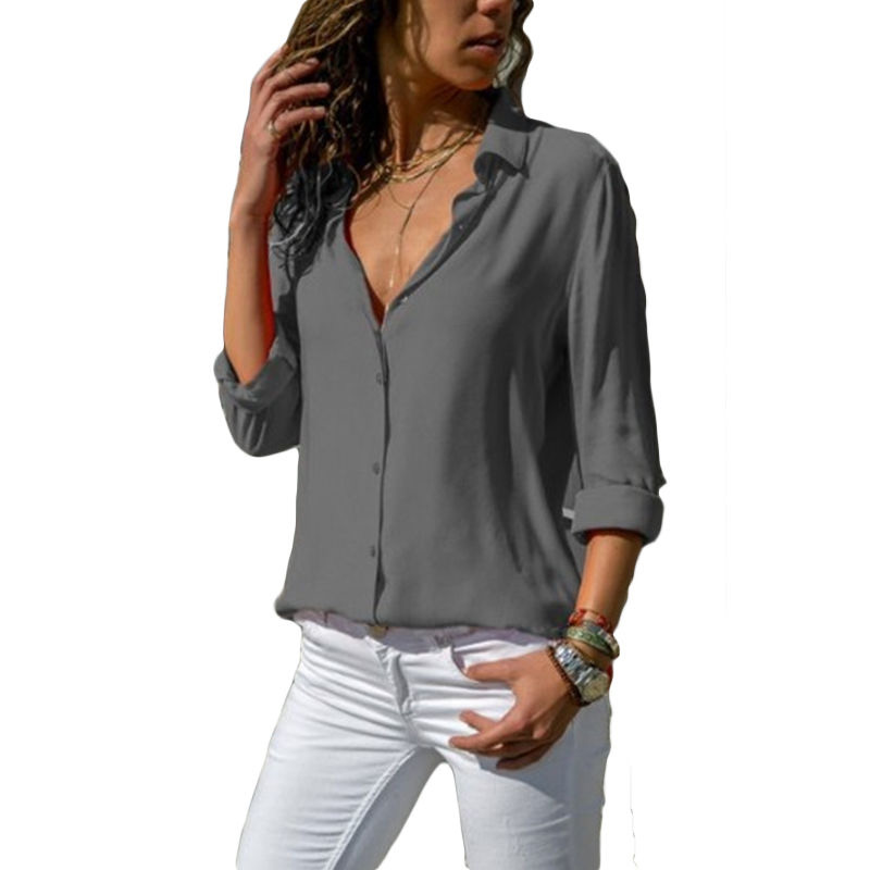Autumn Blouse Women Solid Womens Tops And Blouses Big Sizes Plus Size 2018 Chiffon Blouse Long Sleeve Work Wear Office Blouse    1