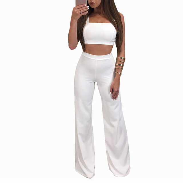 7685fc8d65e Bodycon Summer Jumpsuit Romper Women Two Piece Suit Sexy High Waist Tank  Sleeveless Bandage Overalls 2017 New Playsuit