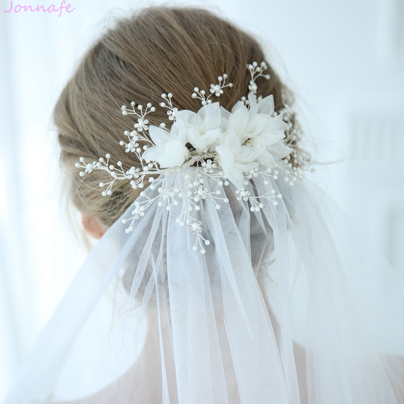 Jonnafe 2019 Gorgeous Tulle Floral Bridal Headpiece Pearls Hair Jewelry Silver Color Wedding Hair Clip Crown Accessories crown shaped hair clip