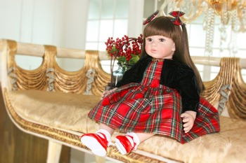 "Reborn fashion girl dolls toys 24"" silicone reborn baby doll with Fashion clothing bebes reborn menina bonecas alive NPK DOLL"