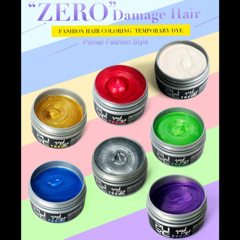 Natural Hair 7 Colors Products Wax Dye One-time Molding Paste Party Hair Dye Style Styling Cream