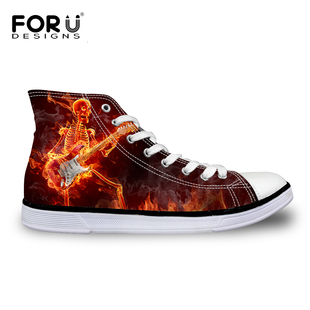 ФОТО FORUDESIGNS Men's High-top Canvas Shoes Hipster Stree Style Breathable Flats Male Shoes For Boys Flame Pattern Lace-up Zapatos