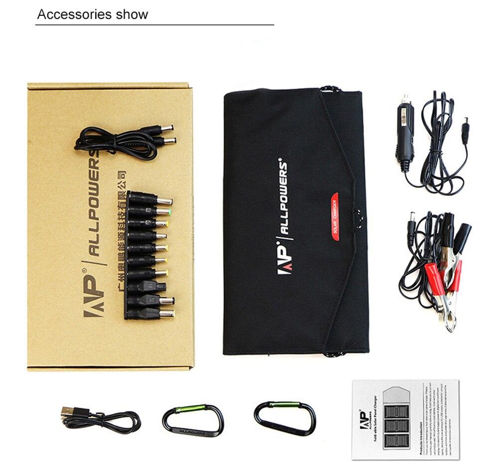 ALLPOWERS Portable 18 V 12 V 5 V 21 W pliant pliable Camping panneau solaire chargeur batterie externe Mobile pour ordinateur Portable téléphone batterie USB