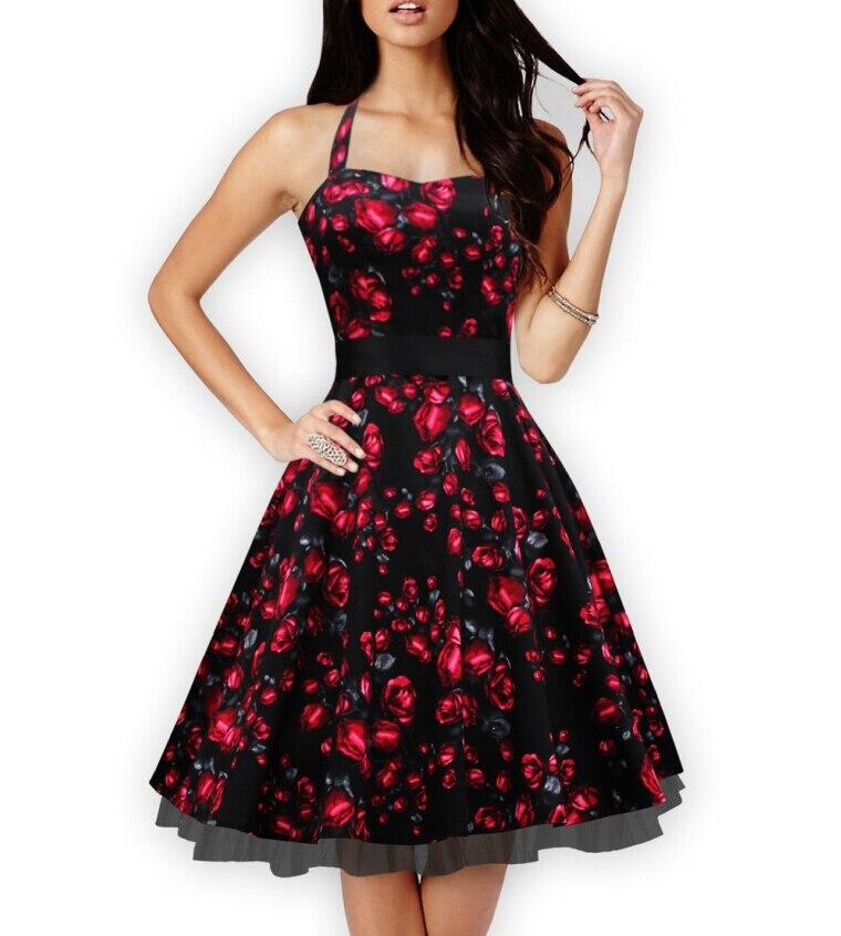 ea32413759831 Audrey Hepburn style vintage flower Halter Neck big swing dress robe  vestidos women casual prom cocktail retro 50s dresses