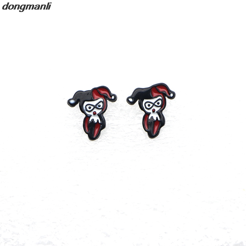WS0902 The New Batman Strips Harley Quinn Clown lady Earrings - Mode-sieraden
