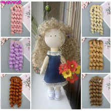 1pc 15cm Doll Accessories Curly Synthetic Fiber Wig Hair for DIY High Temperature Wire Wigs
