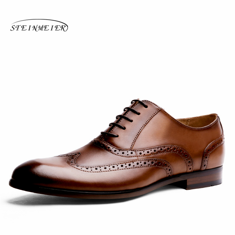 Men brogues Genuine Leather Shoes quality business England Style Handmade oxford shoes Men spring bullock carved shoes england carved men s business dress shoes leather men s shoes european version breathable black and white fight color shoes