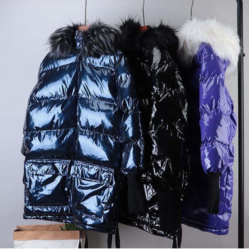 Fashion bright down jacket big fur collar thicken long winter warm parka coat down jacket female Snow winter clothes