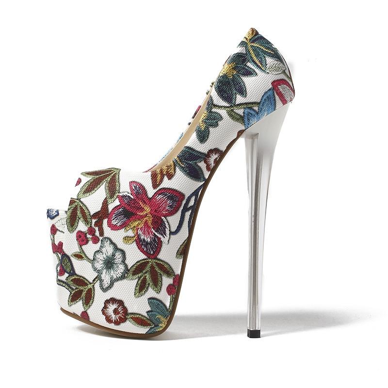 20cm Super High Heels Women Pumps Peep Toe Foral Printed Shoes For Women Platform Elegant Party Women Pumps Size 34-43 sexy peep toe and super high heels design pumps for women
