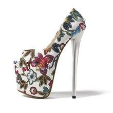 купить 20cm Super High Heels Women Pumps Peep Toe Foral Printed Shoes For Women Platform Elegant Party Women Pumps Size 34-43 по цене 2588.97 рублей